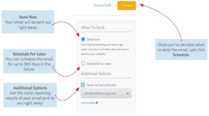 opcões ao enviar mensagem de email para clientes