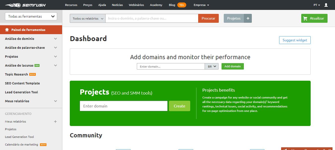 página inicial da plataforma da ferramenta de análise de marketing digital SEMRush