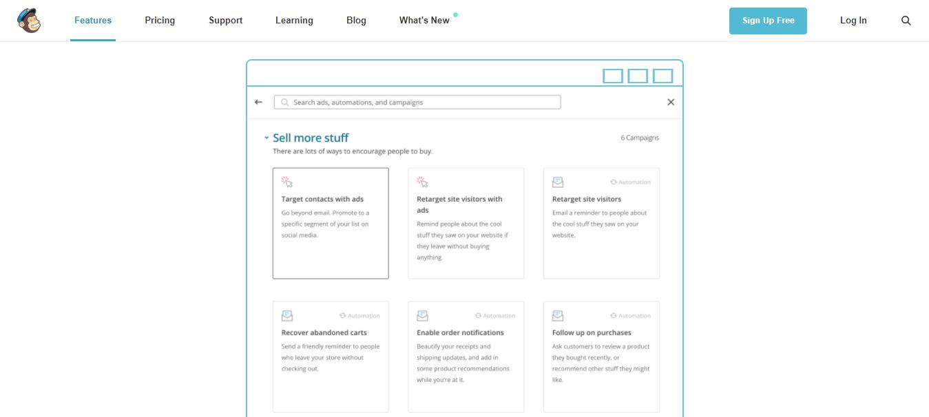 página inicial do site da ferramenta MailChimp