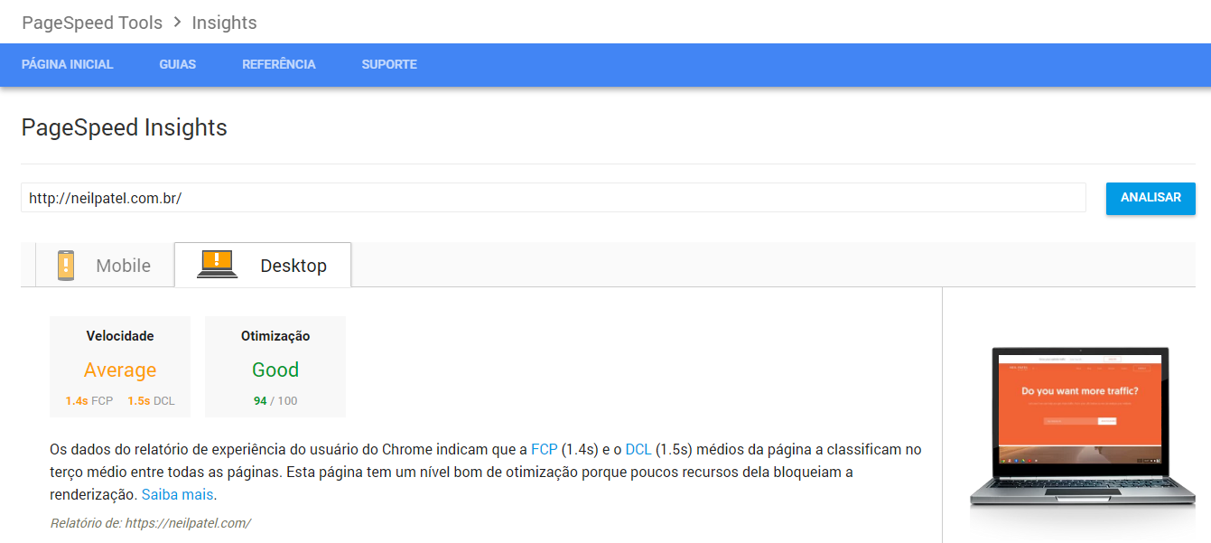 página inicial do site da ferramenta PageSpeed para análise de marketing