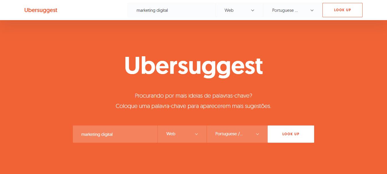 página inicial do site da ferramenta para analistas de marketing Ubersuggest