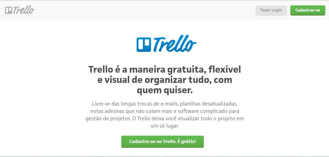 página inicial do site da plataforma de criação de plano de Marketing Trello