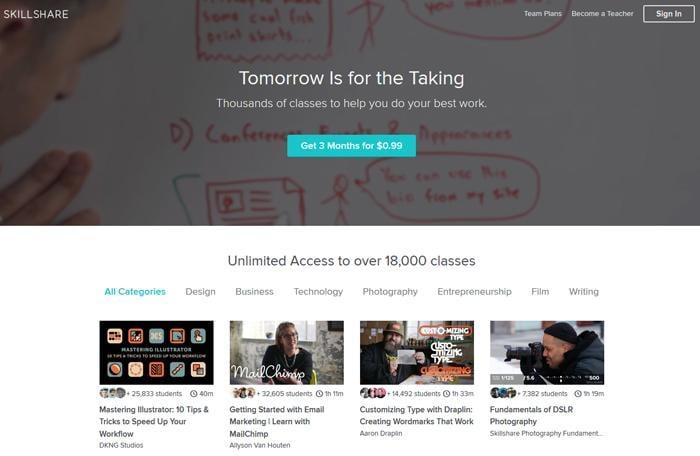 página inicial do site skillshare como exemplo de ideia criativa