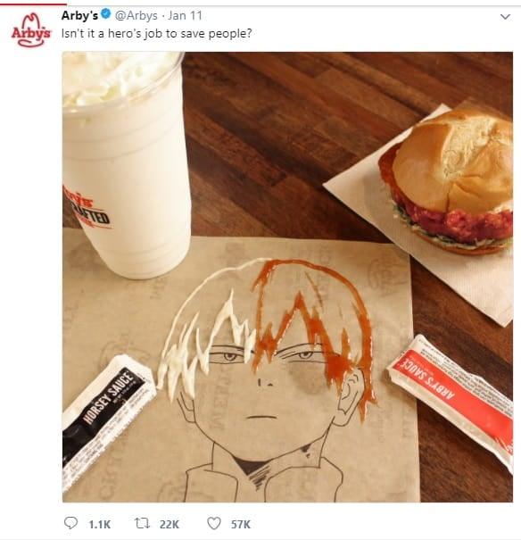 postagem em rede social de perfil chamdo arby´s com imagem de desenho feito em papelao com lanche e bebida ao lado