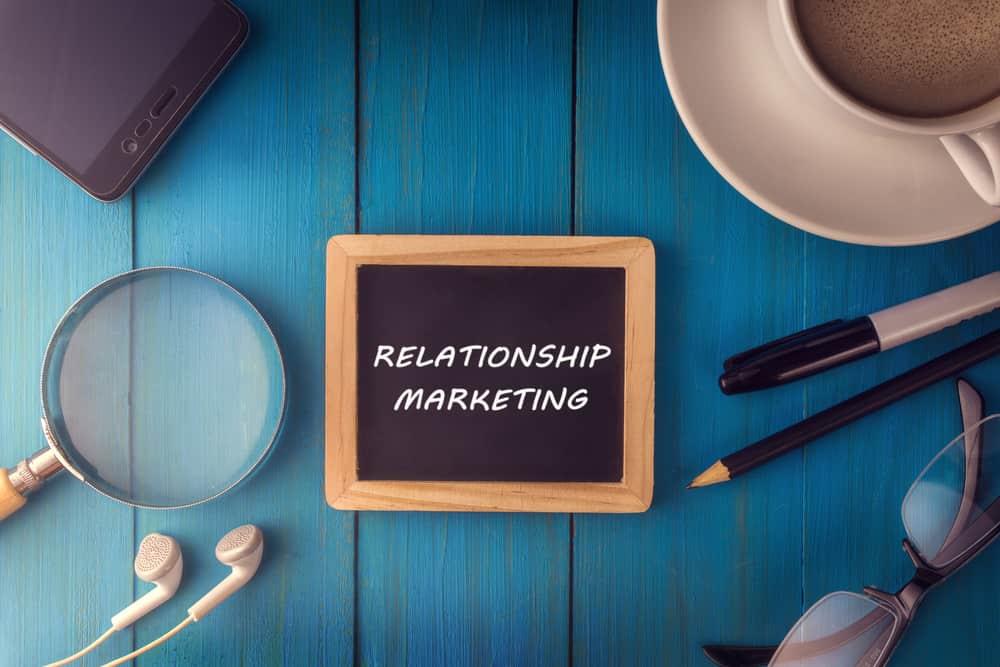 quadro com as palavras relationship marketing em mesa de madeira com lupa, fone de ouvido, smartphone, oculos, lapis e xicara de café em sua volta