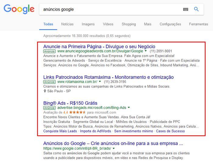 resultados de pesquisa no googl