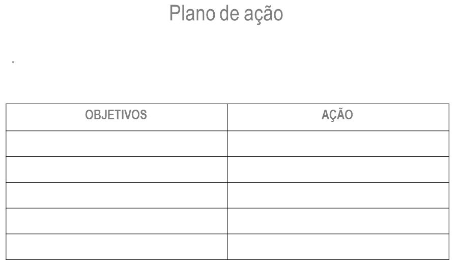 tabela de planos de ação no planejamento estratégico