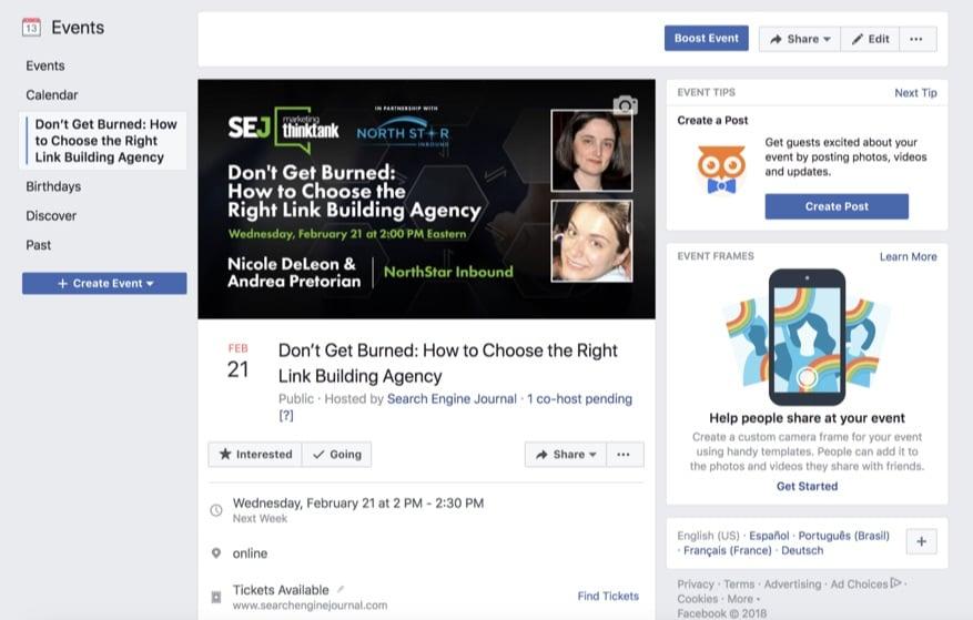 facebook events webinar