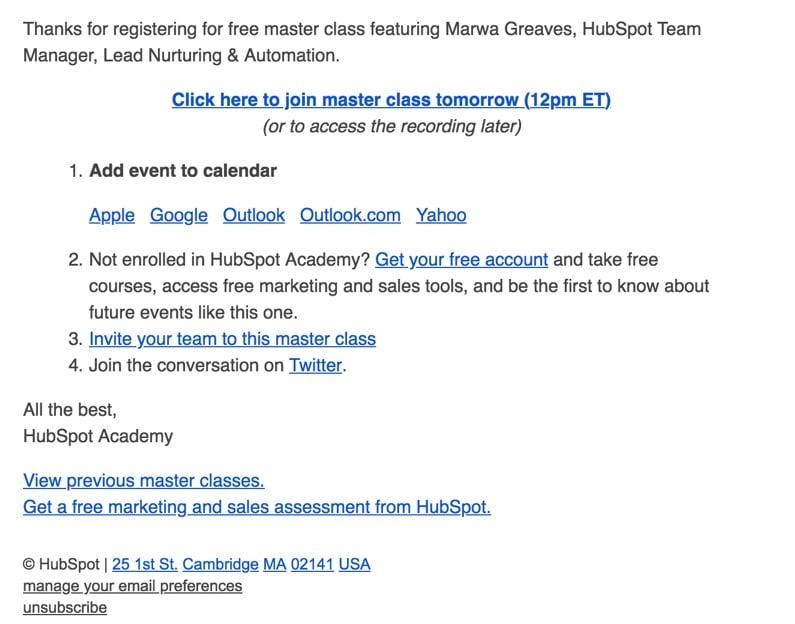 hubspot webinar reminder email