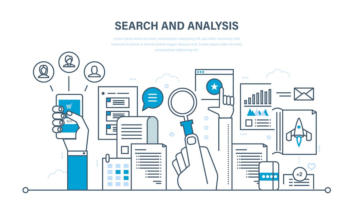 ilustração sobre pesquisa e análise