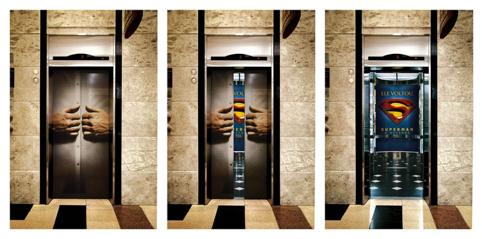 markting de guerrilha em elevador para o filme Superman