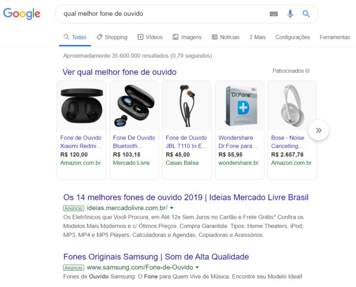 exemplo de pesquisa no google
