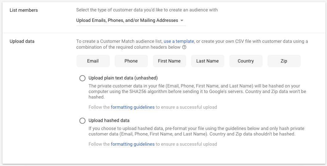 retargeting list upload data