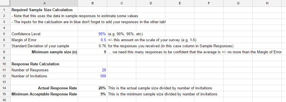 sample size spreadsheet calculation