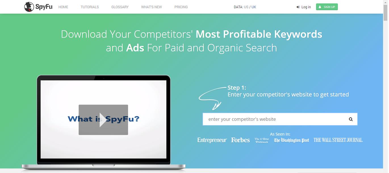 spyfu como exemplo de ferramenta de análise de concorrência