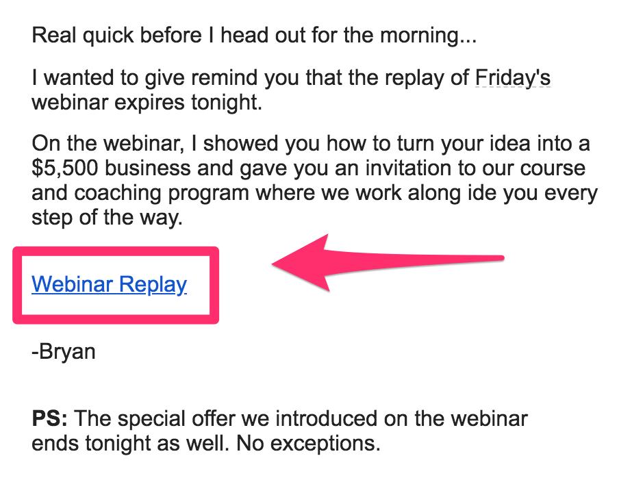 webinar replay offer