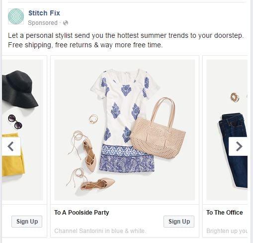 Facebook ad type CTW carousel