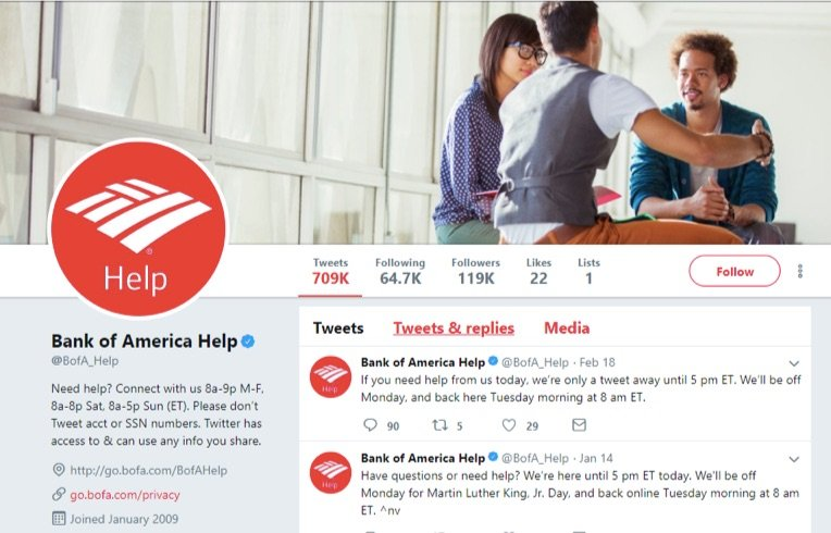 bank of america twitter help account