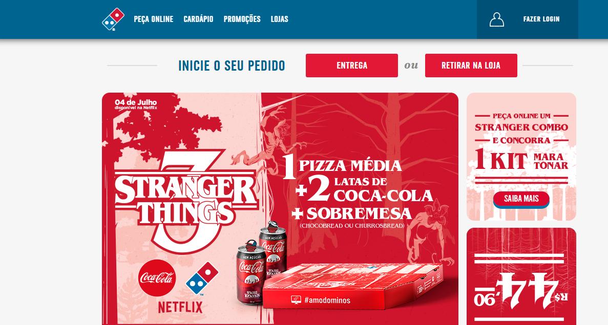 campanha de marketing direto da empresa domino's com ofertas e novidades de series