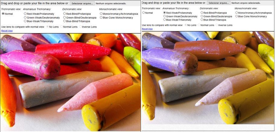 comparação de comportamento das cores em casos de daltonismo