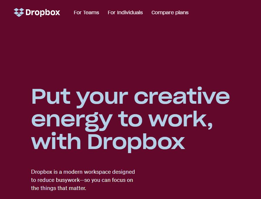 dropbox homepage 2018