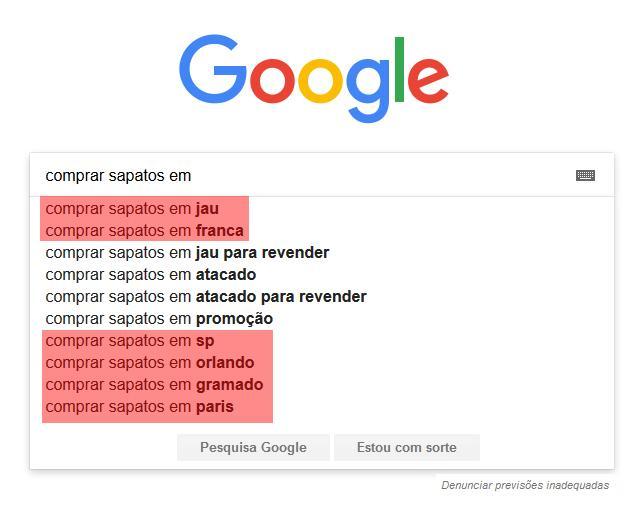exemplo de pesquisa no google e otimização de SEO