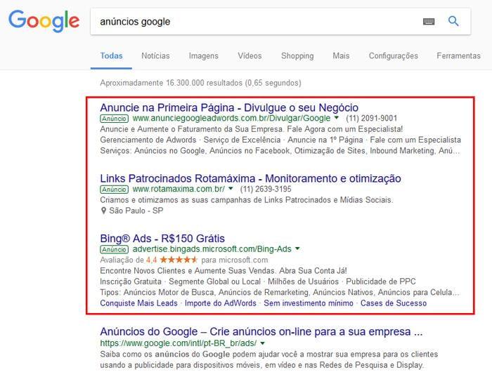 exemplos de resultados feitos pelo google ads em pesquisas do google