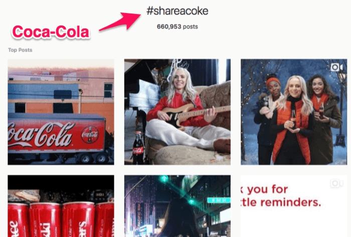hashtag da marca Cola-Cola no Instagram