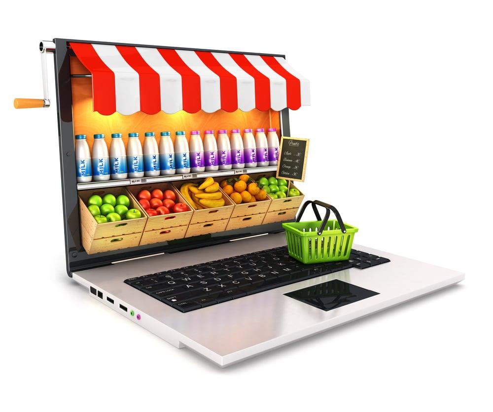 ilustração de laptop e comércio em tela