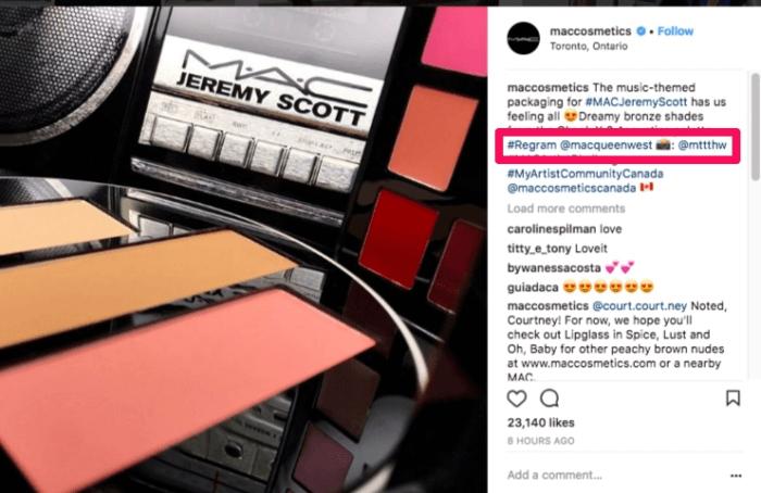 marca de cosméticos MAC utilizando fotos de consumidores em seu perfil no instagram