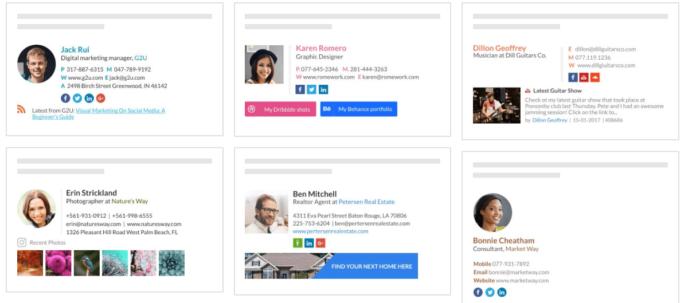 modelos e exemplos de assinatura de e-mails wisestamp