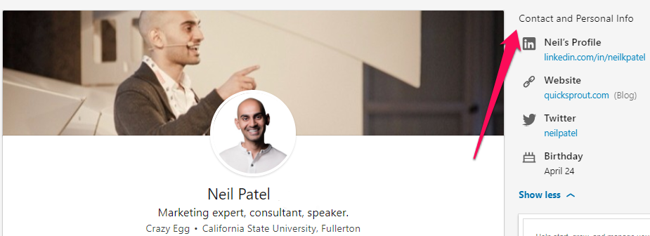 neil patel contact on and personal info