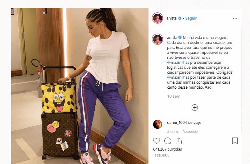 publicação da cantora Anitta em parceria co agência de viagens