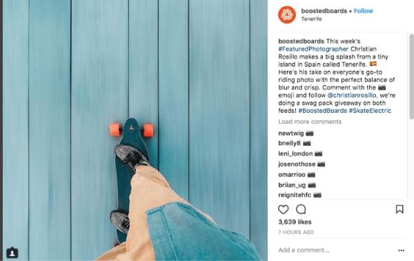 publicação da empresa boostedboards em seu perfil do Instagram