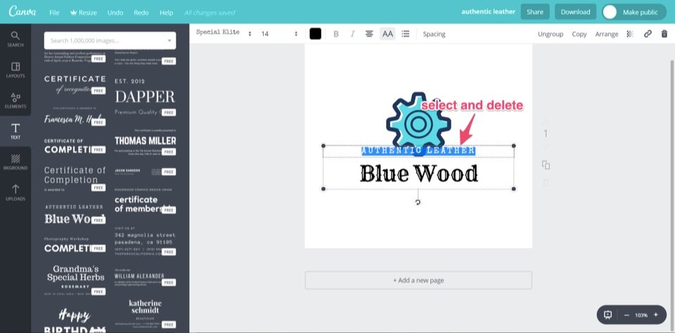 select and delete canva blue wood free logo