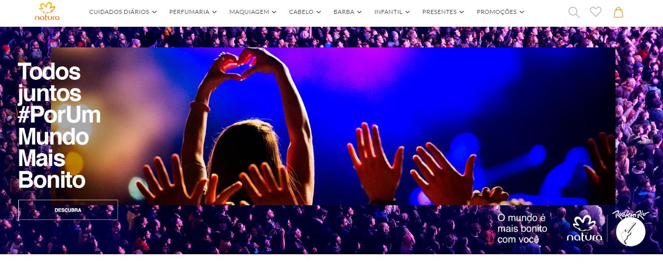 site da empresa natura como exemplo de marketing direto digital