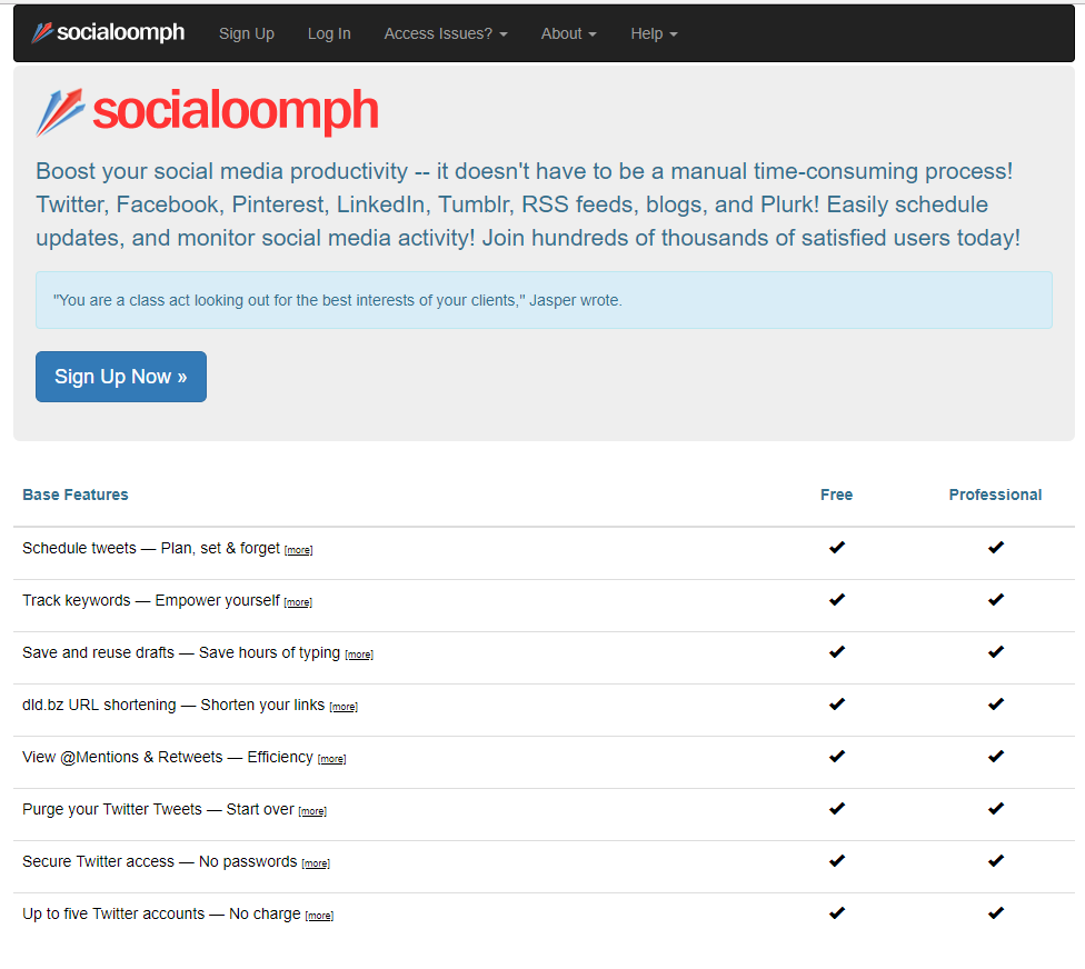 socialoomph homepage in 2018