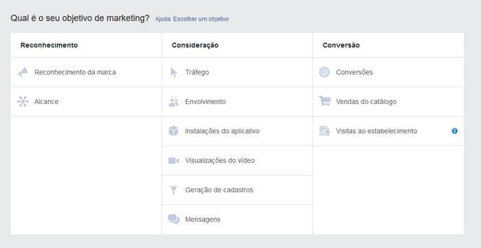 tela de manutenção da ferramenta facebook ads para criação de ads para vendas online