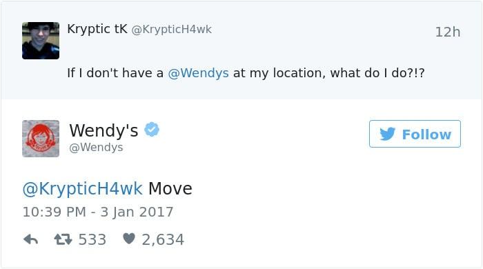 twitter follower guide wendy's response