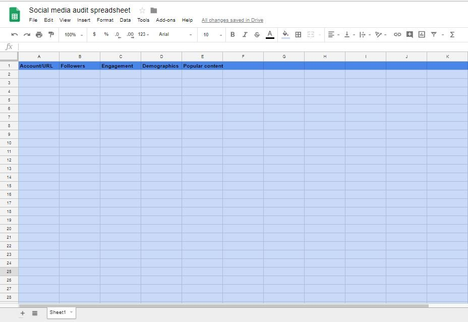 Social media audit spreadsheet