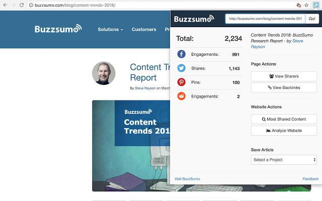 BuzzSumo como exemplo de extensão chrome