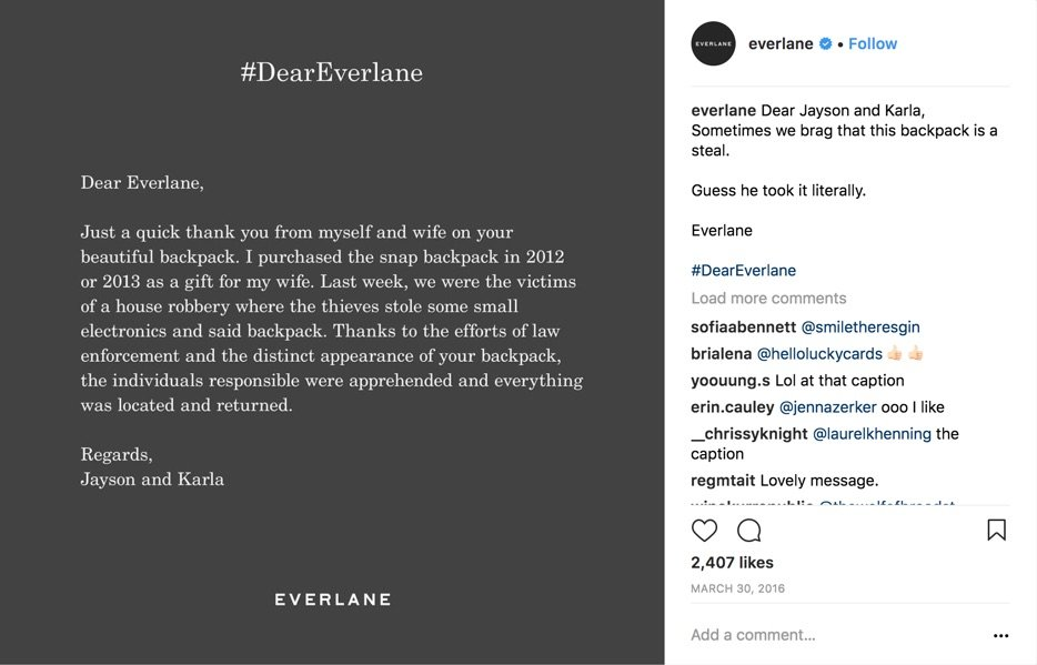 dear everlane instagram
