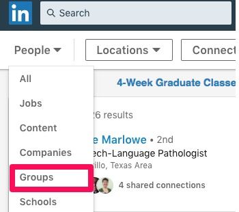 groups selection on linkedin