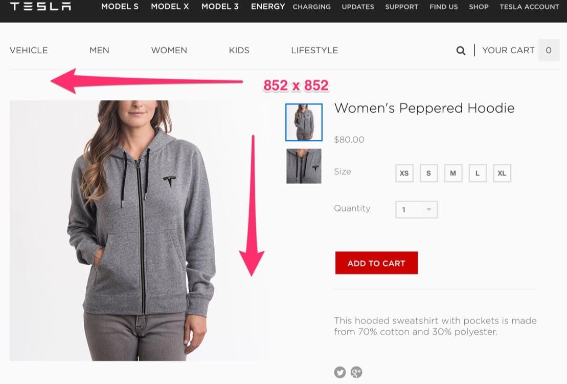 image size tesla womens hoodie