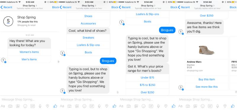shop spring chatbot