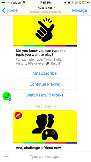 trivia blast facebook messenger