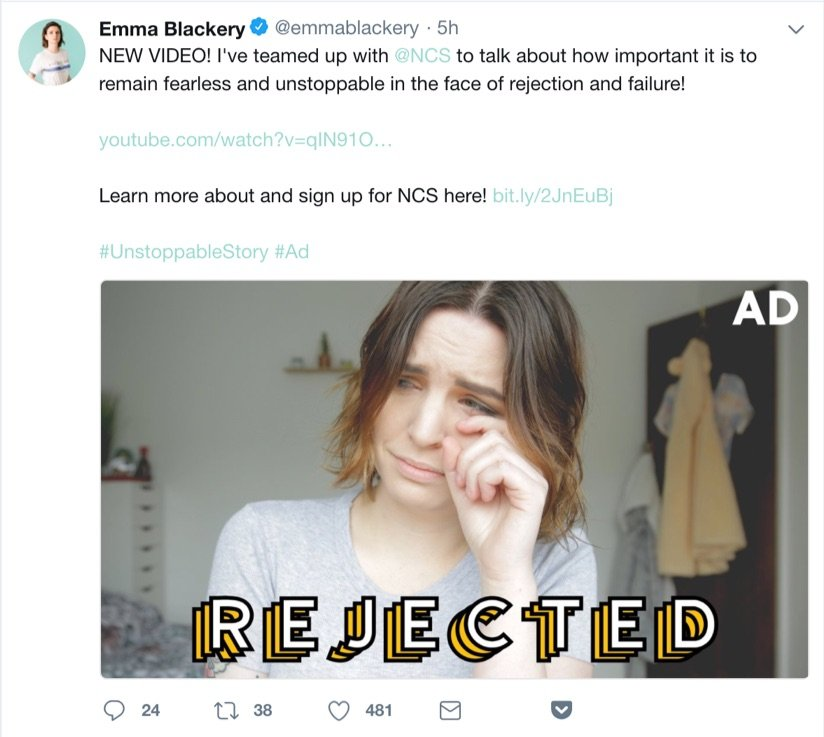 emma blackery sponsored tweet