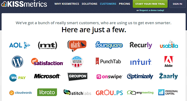 kissmetrics customers in 2013 social proof