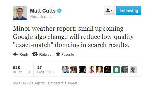matt cutts domain match tweet