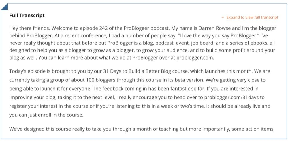problogger podcast episode transcript